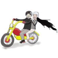 Princess and Branwing on bike
