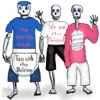 skeletons in t shirts